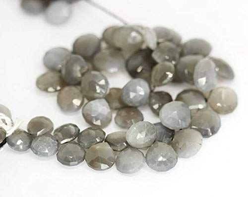 GemAbyss Beads Gemstone Gray Moonstone Faceted Briolette Heart Drop Gemstone Loose Craft Beads Strand 10 Inch Long 9mm 13mm Code-MVG-27566