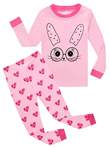Kids Pajamas Hop Little Girls Pajamas Children Rabbit Cotton Sleep Clothes Set Toddler Pjs (Pink,3T) -