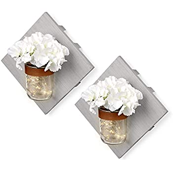 ArtsyCrafts Rustic Wood Mason Jar Wall Sconces Set of Two Grey - Includes Hydrangea Flower & LED Fairy Lights for A Warm Farmhouse Decoration. Enhance Your Home, Kitchen, Bathroom and Bedroom Decor