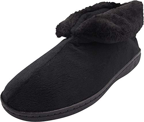 NORTY - Women's Faux Fur Slip On Bootie Slipper, Black 40808-Small