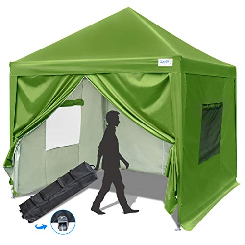 Quictent Privacy 10x10 EZ Pop Up Canopy Tent Instant Canopy Folding Party Tent with Sidewalls and Mesh Windows Waterproof -8 Colors (Green)