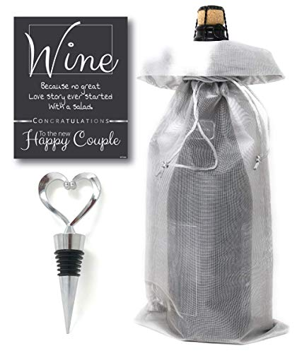 Silver Organza Wine bag + Stainless Steel Heart Wine Stopper With Happy Couple Wine Bottle Labels, Unique Wedding Gift, Bridal Shower Gift, Anniversary Gift, Engagement Gifts
