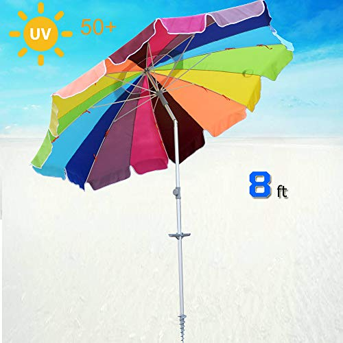 SNAIL 8 feet 16 Panel Reinforced Large Beach Umbrella Jumbo Vented Fiberglass Beach Umbrella with Tilt Aluminum Pole and Integrated Sand Anchor (Rainbow)