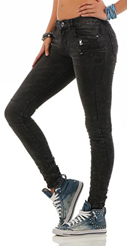 L1842 Baggy Black Destroyed Trousers Women's Look Lexxury Jeans Women's Boyfriends Hipster Denim Stretch Button qw7BnEg