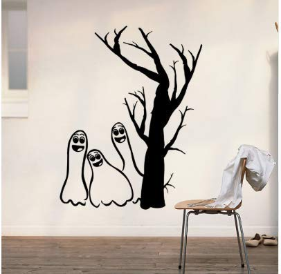 Karrybizi Halloween Wall Stickers Shop Store Creative Decorative Stickers Glass Window Stickers Black White Specter Removable Wall Sticker ()