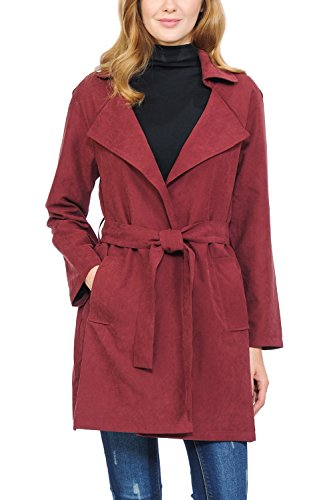 Auliné Collection Womens Peach Skin Asymmetrical Belted Lightweight Anorak Jacket No Zip Burgundy L