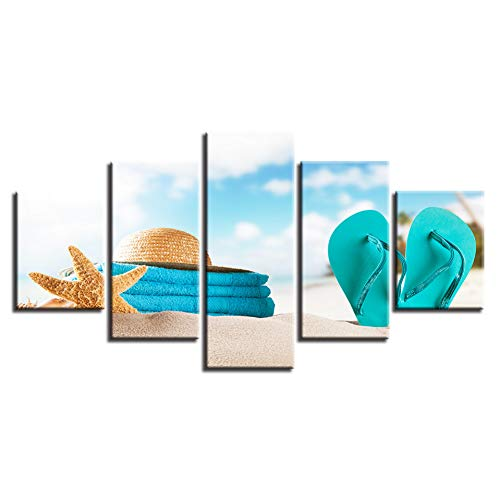 LWLNB Decorative Painting 5 Canvas Paintings Wall Art Hd Prints Pictures 5 Pieces Starfish Poster Modular Summer Beach Straw Hat Flip-Flops Home Decor Frame ()