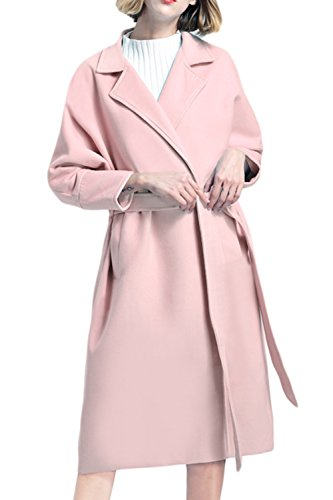 Mupoduvos Women Winter Elegant Solid Lapel Thickened Belted Tweed Coat Wool Outerwear Pink M Belted Tweed Coat