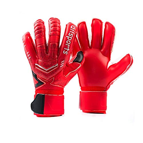 Coodoo Goalie Goalkeeper Gloves with Pro Fingersaves, Strong Grip for The Toughest Saves, Protection to Prevent Injuries, Fit Match Training, Adult, Youth,Size 6-11 (Black & Red, 6)