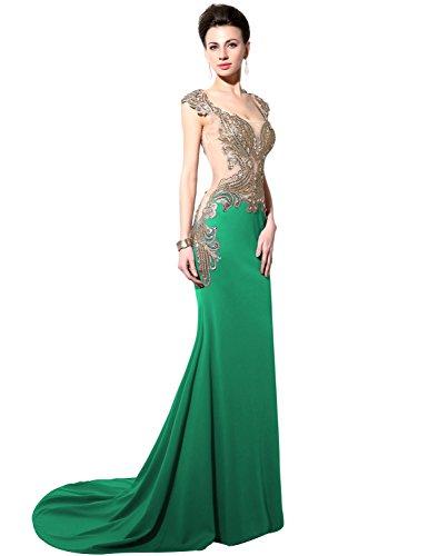 Sarahbridal Damen Kleid Green(capped sleeve)