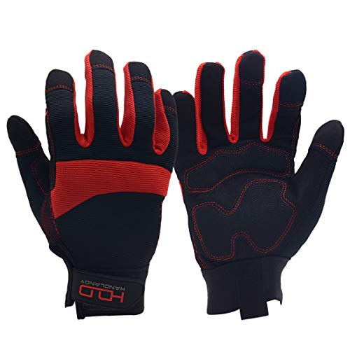 General Utility Light Work Glove,Breathable,Stretchable,Touch Screen,Padded Knuckles and Palm (Large, Red) ()