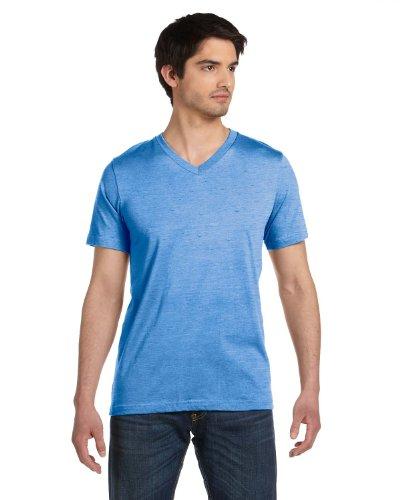 Coast V-neck Jersey - Bella mens Unisex Jersey Short-Sleeve V-Neck T-Shirt(3005)-TRUE ROYAL MRBLE-M
