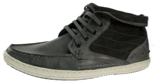 MEAN décontracté Blanc Cuir lacets Top Chaussures Roll à Cuir Gris Red semelle avec Tape Hq1x5vt