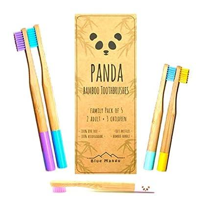 Panda cepillos de dientes | cepillos de dientes de bambú natural biodegradable | hermoso + ecológico