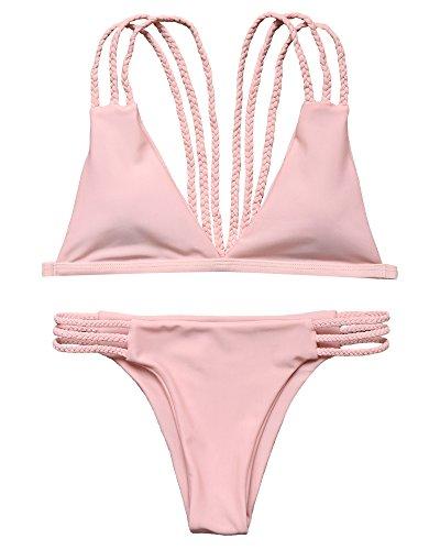 LEESMILE Women 2 Piece Braid Rope Strap Swimsuit Brazilian Halter Padded Top Sexy Bikini Set(S(US Size 2-4),Pink)
