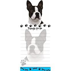 """Boston Terrier Magnetic List Pads"" Uniquely Shaped Sticky Notepad Measures 8.5 by 3.5 Inches"