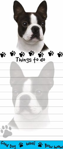 Boston Terrier Magnetic List Pads Uniquely Shaped Sticky Notepad Measures 8.5 by 3.5 Inches