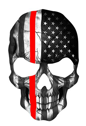 Firefighter sticker Thin Red Line Skull Subdued American Flag Sticker. 6 x 4
