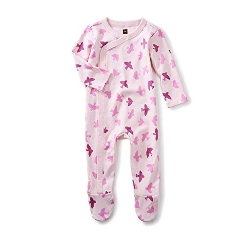 - Tea Collection Footed Romper, Birds in Flight, Pink Background with Light and Dark Pink Birds (3-6 Months)