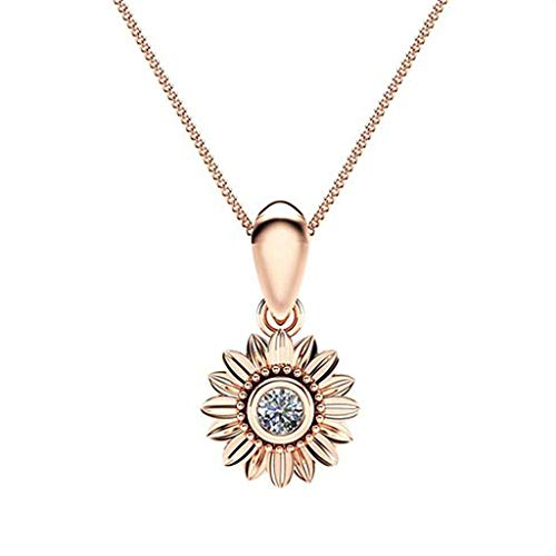 Nihewoo Women Necklace Chian Necklace Sun Flower Pendant Choker Necklace Metal Necklace Jewelry Gifts for Girlfriend (Rose Gold)