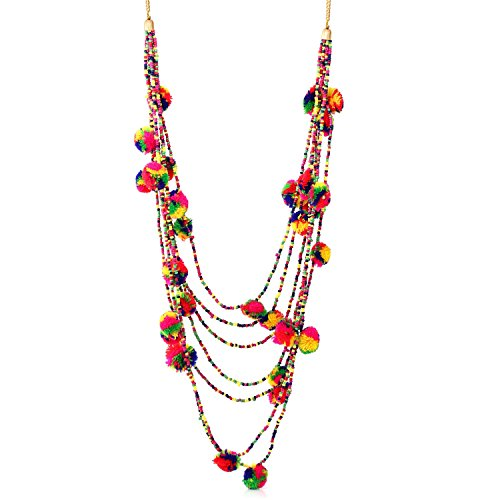 TAZZA MULTI COLOR SEED BEAD AND POM POM LAYERED LONG NECKLACE -