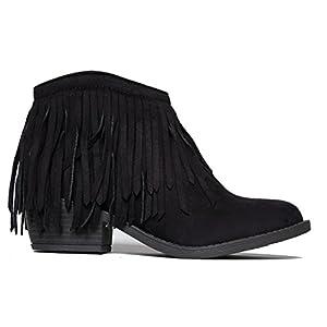 Marrow Fringe Ankle Boot, Black Suede, 7.5 B(M) US