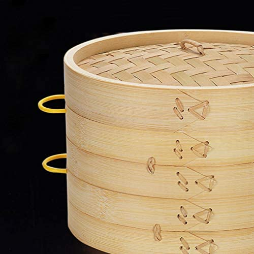 41NrHQNkOUL. AC DOITOOL Natural Bamboo Steamer Basket Set with Handle and Lid 20cm Traditional Chinese Steamer Basket Food Steaming Pot for Dumpling Bao Bun Dim Sum     Description 2 pcs Bamboo Steamer Kitchen Round Buns Steamer Cookware Food Steamer Cooking Tools for Restaurant Home
