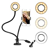 Selfie led Ring Light with Stand and Cell Phone Holder for Live Stream, YouTube, Facebook,3 Color Light Dimmable 10 Brightness, Clamp on Lazy Bracket with iOS & Android Phone,Huawei,HTC,Samsung, …