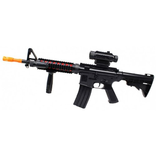 TD-2011 M4/M16-A4 Electric Toy Gun w/ Lights & Sounds, Includes Vertical Foregrip, Removable Scope