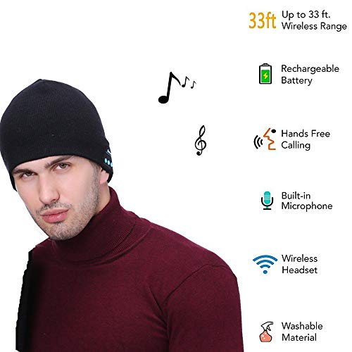 Response 180 Caps - Cupidove Wireless Beanie Smart Winter Knit Hat V4.2 Wireless Musical Headphones Earphones 2 Speakers Beanies Hats Cap Unique Gifts for Men Women Teen Young Boys Girls (Black)