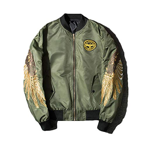 Mens Autumn Jacket Embroidery Gold Eagle Wings Stand Collar Bomber Jacket New Green M