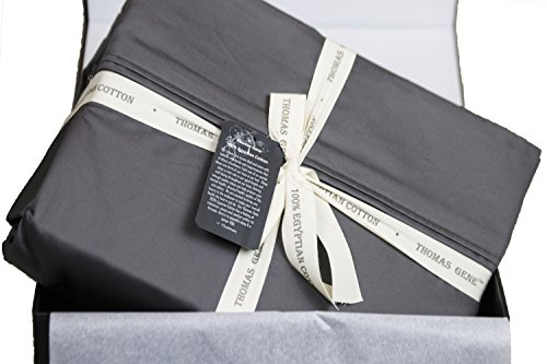 100% Egyptian Cotton Sheets, Genuine 1000 Thread Count 4 Piece Gift Box Set, Hotel Luxury Sateen Weave with Extra Deep Pockets (Queen, Charcoal) ()