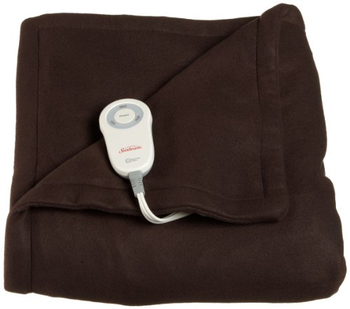 Sunbeam Fleece Heated Throw with PrimeStyle Lighted Controller, Extra Soft Super Warm Plush Electric Throw Blanket, Walnut Brown