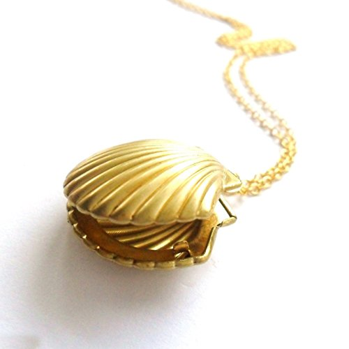 (Jewelryamintra News Sea Shell Locket Mermaid Valentine Necklace Gold Tone BrassNautical Jewelry)