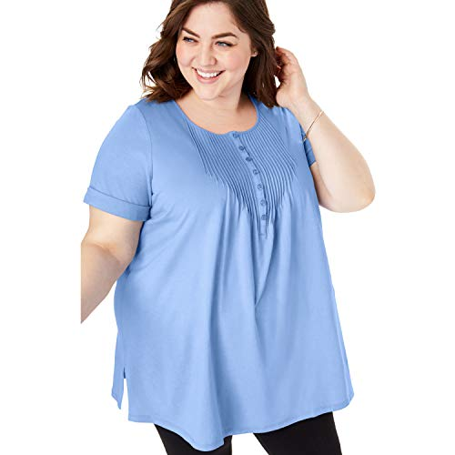 (Woman Within Women's Plus Size Pintucked Henley Tunic - French Blue, 18/20)