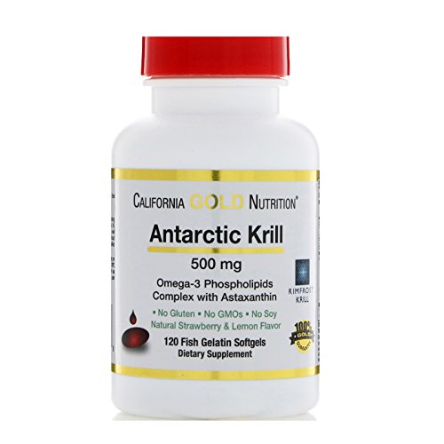 - California Gold Nutrition, Antarctic Krill Oil, with Astaxanthin, RIMFROST, Natural Strawberry & Lemon Flavor, 500 mg, 120 Fish Gelatin Softgels