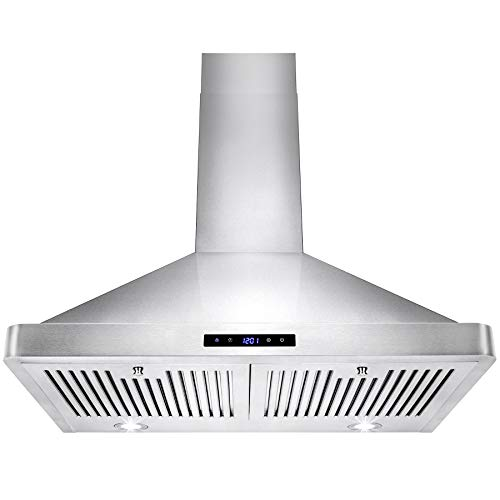 AKDY 30 in. Kitchen Wall Mount Range Hood in Stainless Steel with LEDs and Touch Control