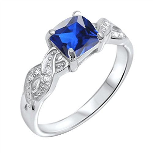 Solitaire Infinity Shank Ring Simulated Blue Sapphire Princess Cut & Round CZ 925 Sterling Silver,Size-8