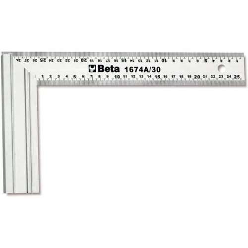 Beta 1674A 300mm Carpenter's Square, Blade Made From Stainless Steel, with Aluminum Base, Double Metric Scale