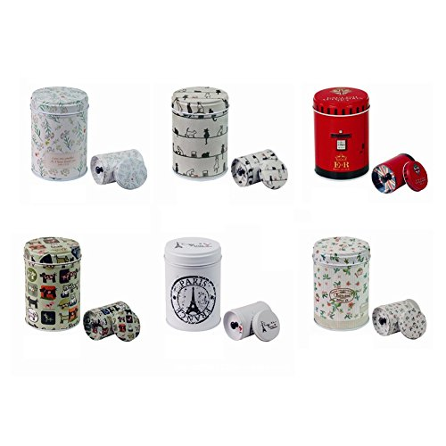 Betan Set of 6 Retro Portable double cover Home Kitchen Storage Containers Colorful Tins Round Tea Tins (Tin Colorful Flowers Round)