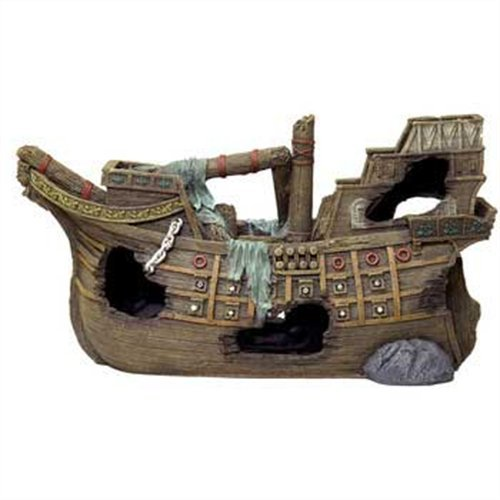 Blue Ribbon Pet Products Exotic Environments Super Sized Sunken Galleon Aquarium Ornament, 22-Inch