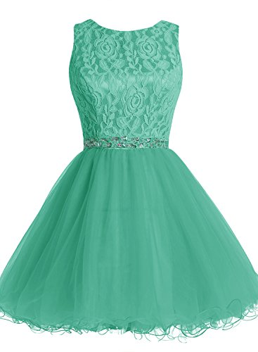 Bbonlinedress Vestido De Noche Fiesta Cóctel Corto De Tul Encaje Verde