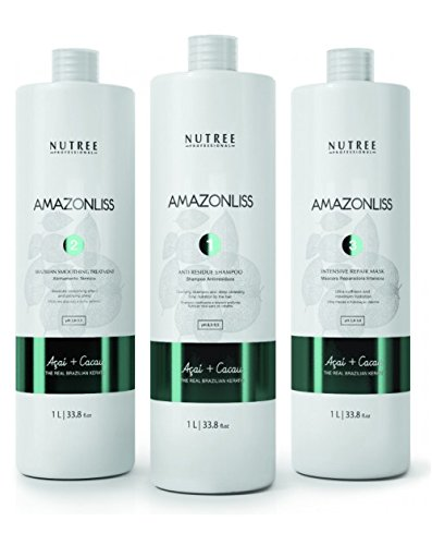 Amazonliss Brazilian Keratin Kit for Thermal Reconstruction 33oz/1L Blowout Shampoo, 33oz/1L Smoothing Treatment, 33oz/ 1L Mask by Nutree Professional