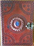 God's Eye Center Stone Journal Diary Leather Blank Black Book w/Cord 5'' x 7''