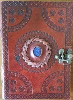 God's Eye Center Stone Journal Diary Leather Blank Black Book w/Cord 5'' x 7''