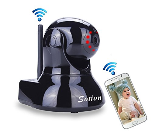 Sotion Wireless Security IP Camera, Internet Network Home Indoor Super HD Surveillance Cameras Monitoring System, Baby/Elder/Nanny/Pet Video Monitor with Pan & Tilt, Two Way Audio & Night Vision ()