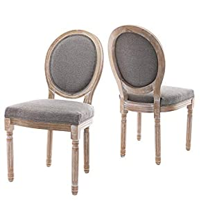 Farmhouse Dining Room Chairs, French Distressed Bedroom Chairs with Round Back, Elegant Tufted Kitchen Chairs, Set of 2…