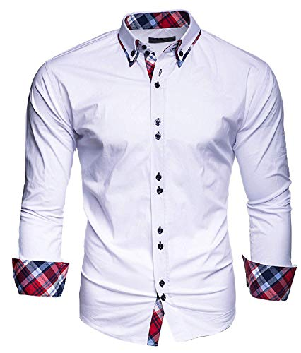 OSYS THX Men's Dress Shirts Solid Slim Fit Long Sleeves Casual Button Down Shirts White
