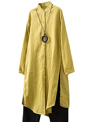 Mordenmiss Women's Side Split Tops Linen Cotton Button Dowm Shirts