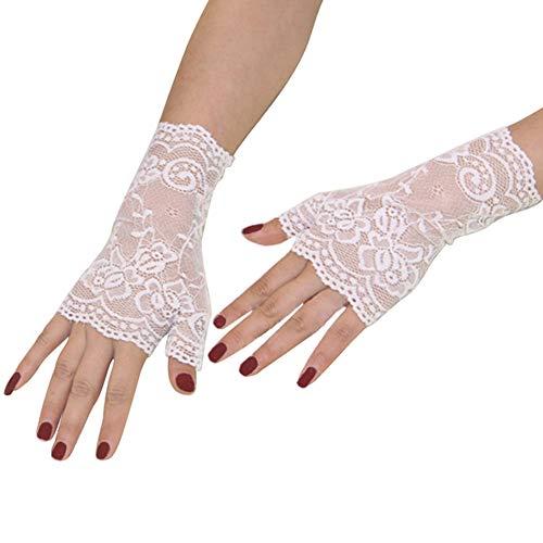 Orcle Women's Short Lace Gloves Fingerless for Driving Wedding Wrist Length Bridal Prom Gloves White#1 ()